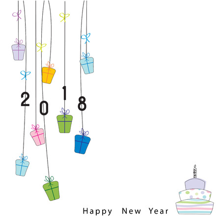 box: Happy New Year 2018, background or element of a holidays card