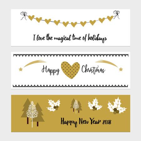christmas tree illustration: Merry Christmas greeting banner with christmas tree and stars Illustration