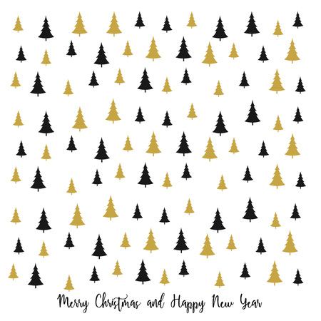 Merry Christmas greeting card with christmas trees