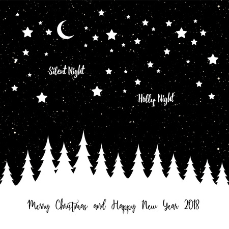 Merry Christmas greeting banner with christmas tree and stars Illustration