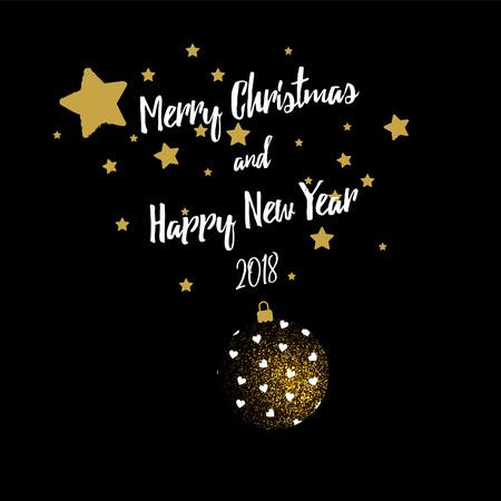 Feliz saludo de Navidad banner con bola de Navidad y estrellas