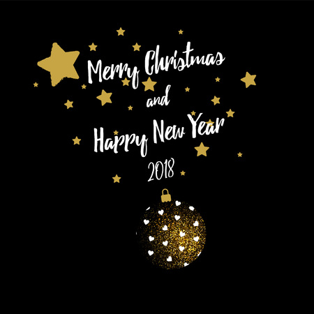 Frohe Weihnachten Gruß Banner mit Weihnachtskugel und Sterne Standard-Bild - 83425294