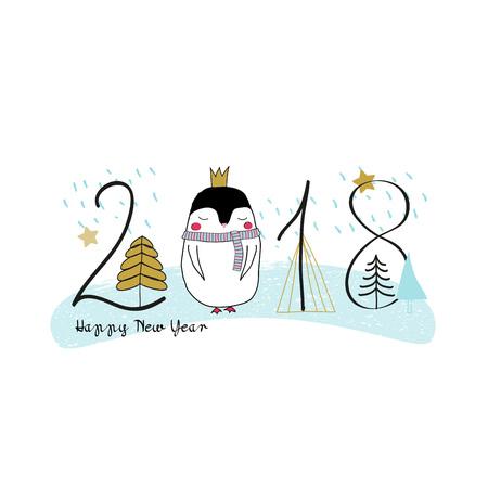 Hand getrokken illustratie van zoete kerst pinguïn