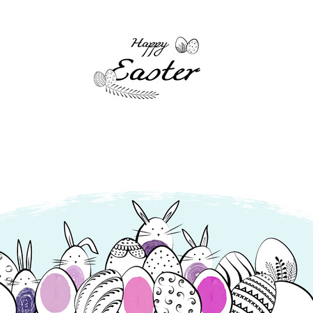 Happy Easter card and banner with a composition of eggs and rabbits. Vector hand drawn illustration.