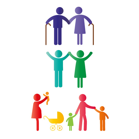 Colorful abstract pictograms showing figures happy and loving family