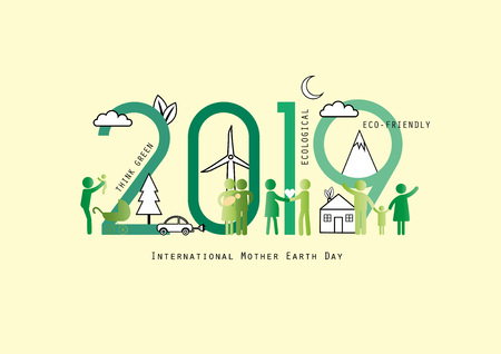 Concept of the earth day 2019, ecological and family-friendly environment. Vector illustration in thin line style.