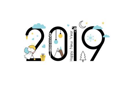 Año nuevo 2019 y diseño de línea plana navideña con pequeños ángeles. Ilustración de vector