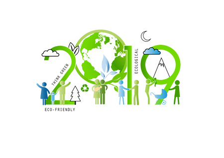 Concept du jour de la terre 2019, environnement écologique et familial. Illustration vectorielle dans un style de ligne mince. Vecteurs