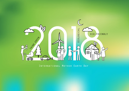 Concept of the earth day 2018, ecological and family-friendly environment. Vector illustration in thin line style.