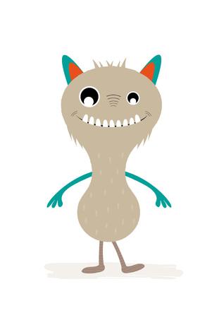 Cute monster character, design for children's invitations or posters. Vector illustration. Standard-Bild - 98730332