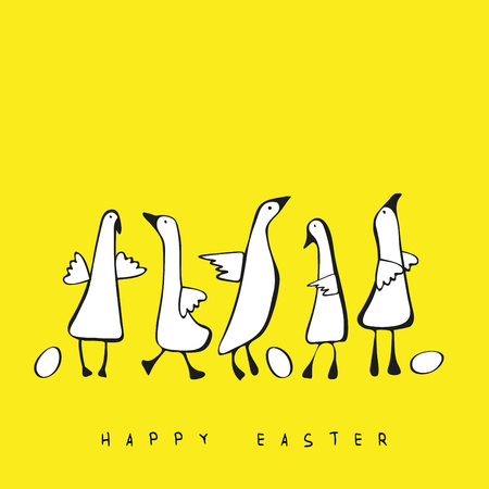 Lovely and simple illustration with geese and eggs perfect for Easter