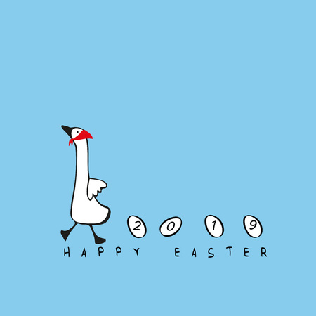 Lovely and simple illustration with goose and eggs perfect for Easter