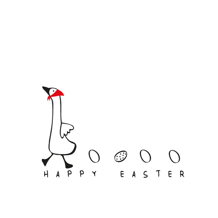 Lovely and simple illustration with goose and eggs perfect for Easte