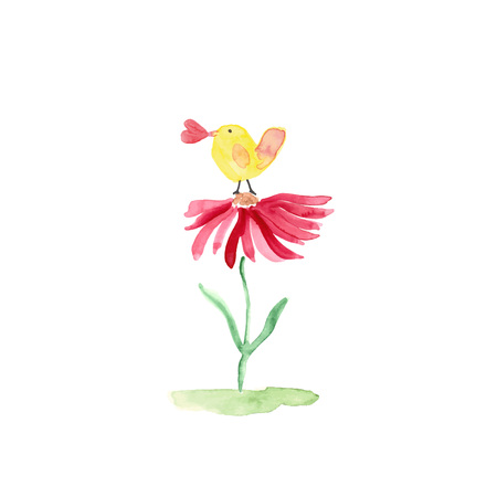 Colorful watercolor illustration with sweet bird and flower perfect for valentines day