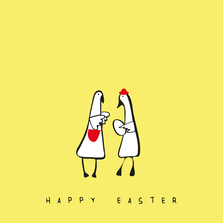 Lovely and simple illustration with geese and egg perfect for Easter