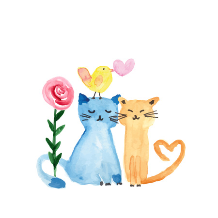 Colorful watercolor illustration with sweet cats, bird and flowers perfect for valentines day