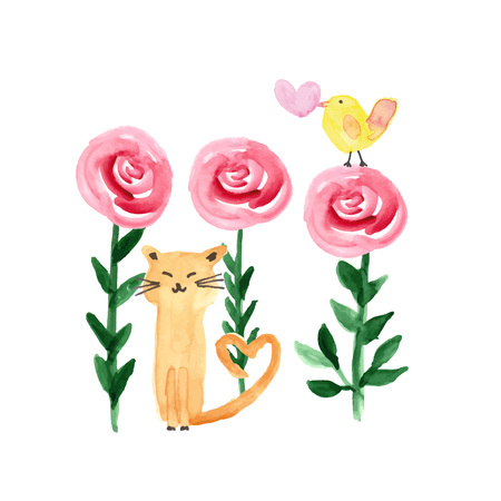 Colorful watercolor illustration with sweet cat, bird and flowers perfect for valentines day Stock Illustratie