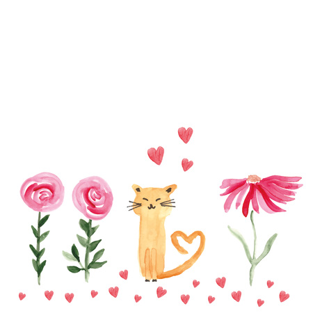 Colorful watercolor illustration with sweet cat and flowers perfect for valentines day