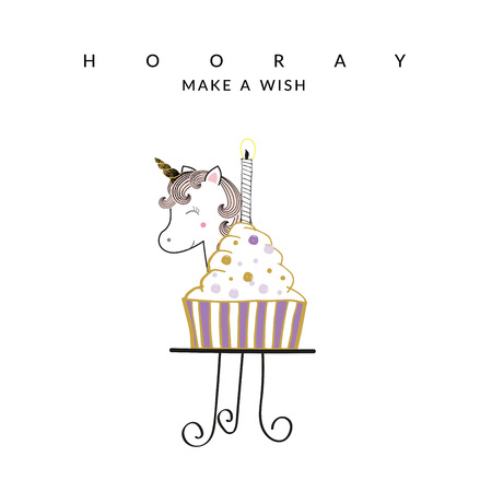 Sweet birthday card with unicorn and cake Stock Illustratie