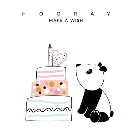 Sweet birthday card with panda and cake Stockfoto - 126287560