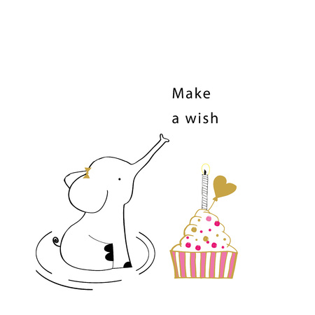Sweet birthday card with elephant and cake