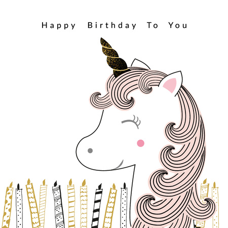 Sweet birthday card with unicorn and candles Stockfoto - 126287566