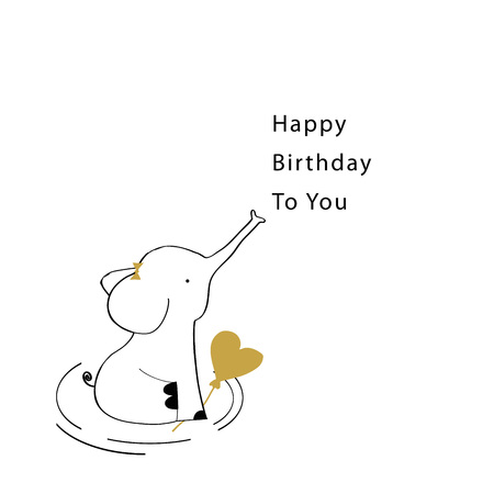Sweet birthday card with elephant Stock Illustratie