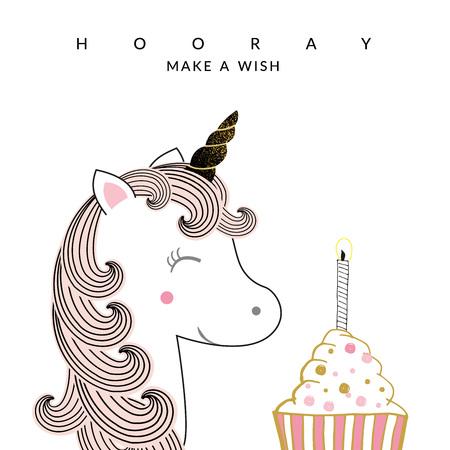 Sweet birthday card with unicorn and cake Ilustrace