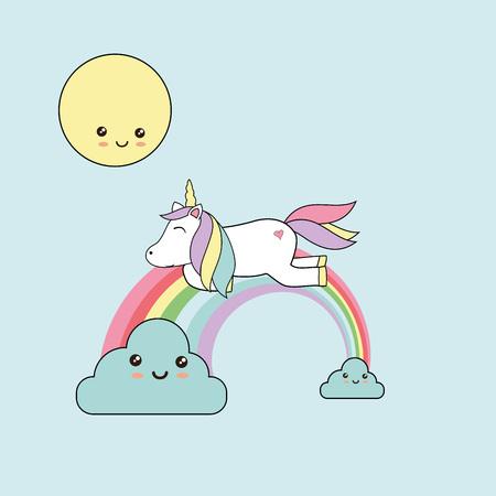 Vector illustration with sweet unicorn - kawaii style