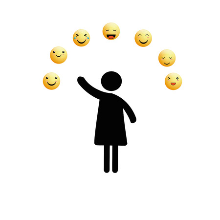 Abstract pictograms showing figures happy family, group or team with emoticons