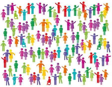 Colorful abstract pictograms showing figures happy family, group or team.