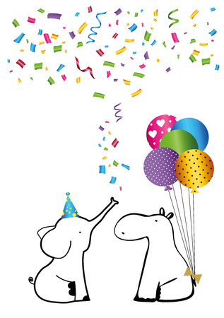 Colorful birthday card with sweet animals and confetti