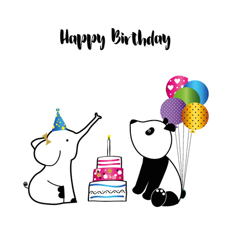 Colorful birthday card with sweet animals and confetti Stockfoto - 125299595