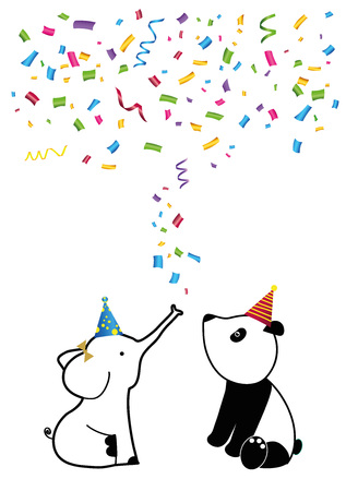 Colorful birthday card with sweet animals and confetti Stockfoto - 125299596
