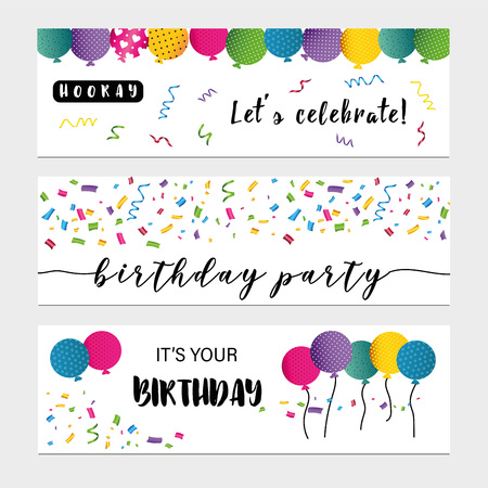 Colorful birthday cards with sweet animals, cakes and confetti Stock Illustratie