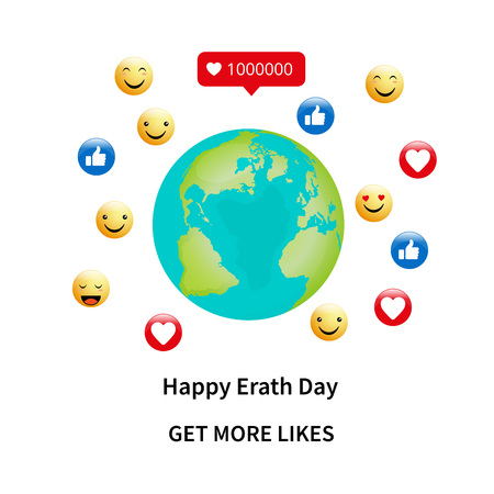 illustration for Earth Day or environmental events showing earth with likes - get more likes our earth