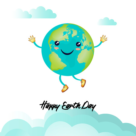 illustration for Earth Day or environmental events showing happy earth in the style of kawaii