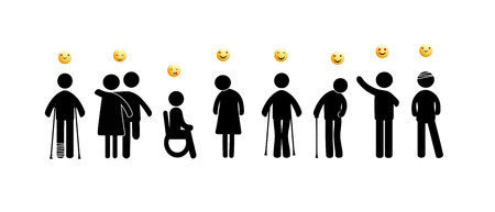 Abstract pictograms showing figures mentally and physically disabled with good and happy emoticons