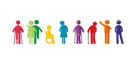 Pictogrammes abstraits montrant des personnages mentalement et physiquement handicapés avec de bonnes et heureuses émoticônes Vecteurs
