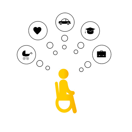 Pictogram showing people with disabilities dreaming about family, home and work. Ilustração