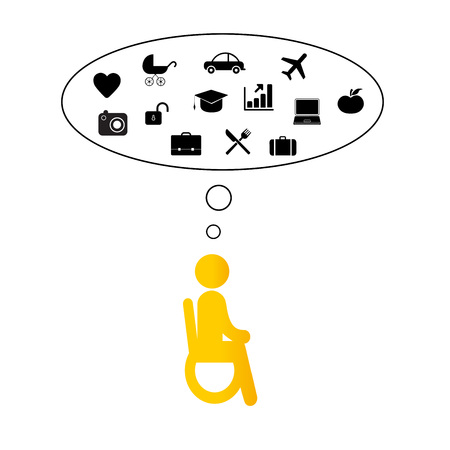 Pictogram showing people with disabilities dreaming about family, home and work. Stock Illustratie