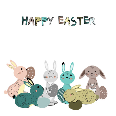 Colorful and cute rabbits in the Easter mood with eggs. Vector illustartion
