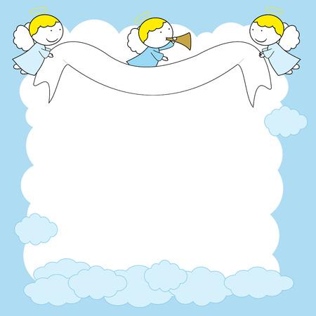 Rahmen mit süßen kleinen Engeln in blauer Farbe.