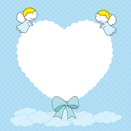 Frame with sweet little angels in blue color.  イラスト・ベクター素材
