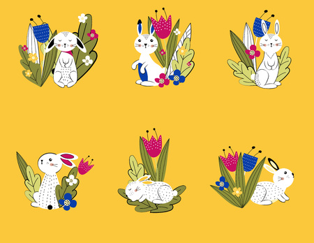 Pattern. Colorful and cute rabbits beween spring or summer flowers. Vector illustartion  イラスト・ベクター素材