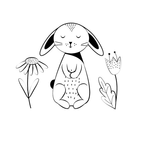 Coloring page outline of cartoon sweet rabbit. School coloring book for children. Colorful vector illustratio.  イラスト・ベクター素材