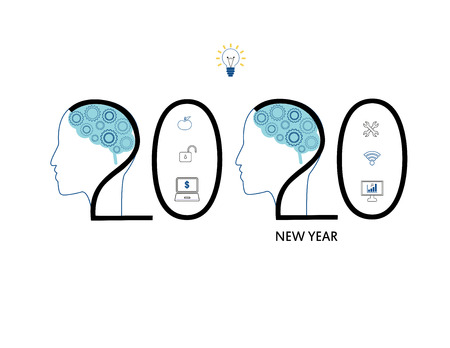 Challenges for 2020. Human head with and comunication and social network icons. Vectores