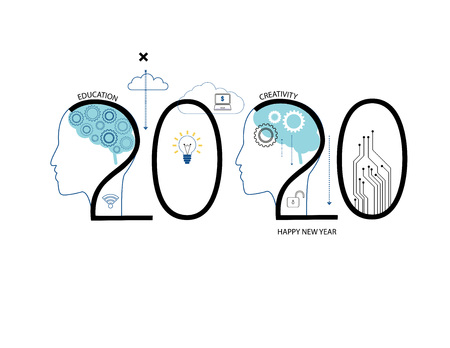 Challenges for 2020. Human head with and comunication and social network icons.  イラスト・ベクター素材