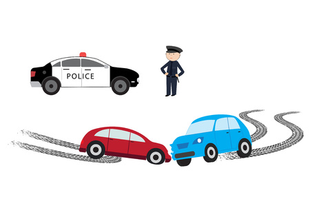 The illustration shows a car accident on the road. Stok Fotoğraf - 124137126