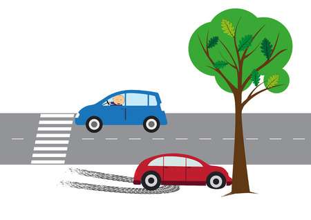 The illustration shows a elements car accident on the road.